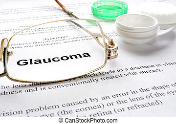 glaucoma - Paper with words glaucoma, glases and container...