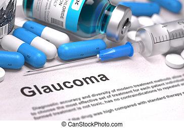 glaukom, diagnosis., medizin, concept.