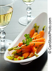 Glazed carrots - Glazed baby carrots with parsley and white...