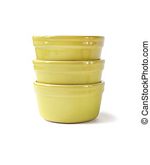 Glazed ceramic pots for cooking on a white background with clipping path