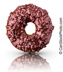 Glazed chocolate donut with nuts on a white background rotated