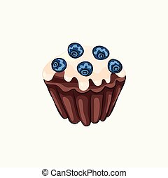 Glazed chocolate muffin with blueberry isolated