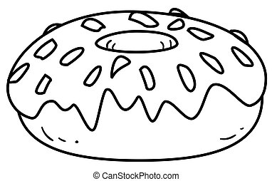 Outlined donut Coloring page outline of a donut character
