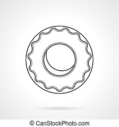 Glazed donut flat line vector icon - Round donut with glaze....