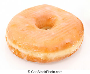 Glazed Donut - Single glazed doughnut over white. (shot as...