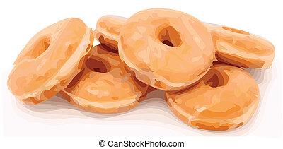 Glazed donuts shot on white. Color Vector Illustration
