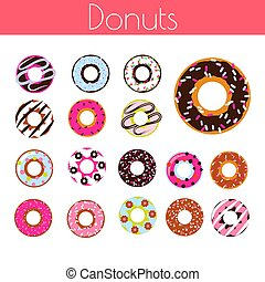 Glazed donuts with coconut shavings and chocolate vector cartoon icon set.