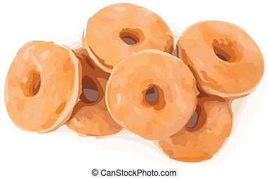 Glazed Doughnuts Color Vector Illustration - pile of glazed...