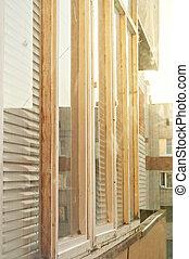 glazed loggia - Balcony with white glazed Windows and...