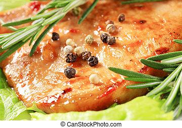 Glazed pork chop - Pan-roasted pork chop with spicy glaze