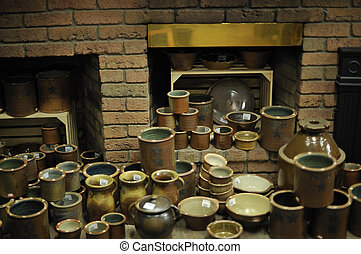 Glazed Pottery and Kiln - Variety of finished pottery...