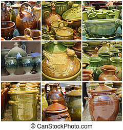 glazed pottery collection, images from traditional craft fair on Main Square ( Rynek ) in Krakow, Poland, Europe