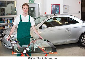 glazier handling windshield
