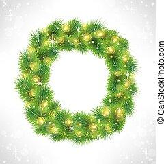 glazig, geleide, guirlande, krans, gele lichten, kerstmis