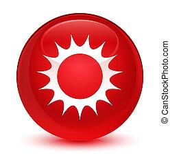 glazig, zon, knoop, ronde, rood, pictogram