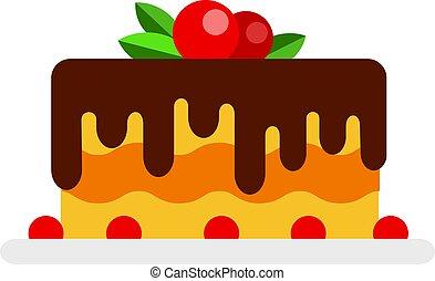 glazuur, besjes, taart, plat, chocolade, vrijstaand, mousse