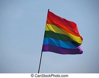 Gay, lesbian, bisexual, transgender pride flag floating in the air