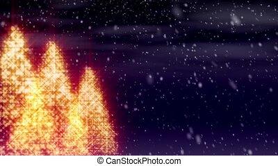 Gleaming Christmas Trees Snow Loop