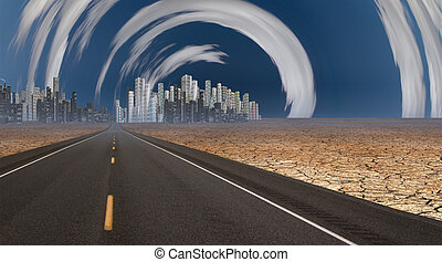Gleaming city in desert with surreal clouds