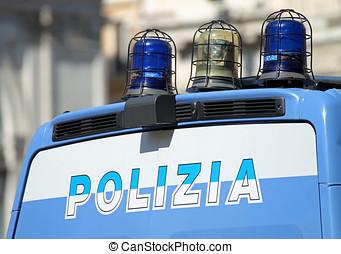 gleaming Italian police van with lights - gleaming Italian...