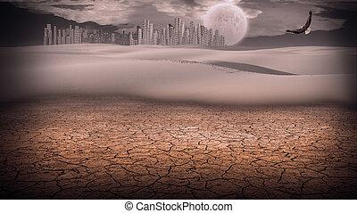 Gleaming silver city in desert