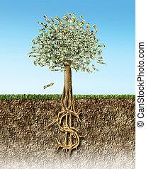 gleba, sekcja, drzewo, krzyż, na, znak, pieniądze, roots., ...