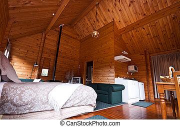 gleccser, elhelyez, szoba, belső, róka