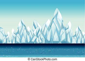 gleccser, háttér, óceán