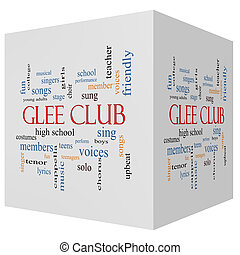 glee, clube, 3d, cubo, palavra, nuvem, conceito