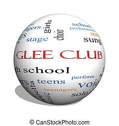 glee, clube, 3d, esfera, palavra, nuvem, conceito