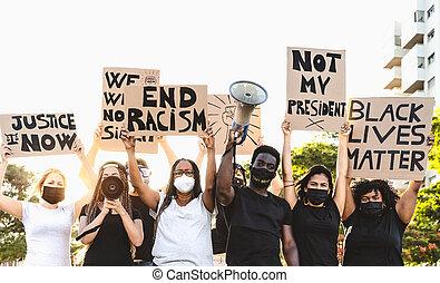 gleich, kämpfen, gleichheit, rennen, straße, protestieren, -, protest, gegen, leben, kulturen, stadt- bewegung, begriff, rassismus, aktivist, ausmachen, demonstranten, schwarz, rechte, verschieden, protests