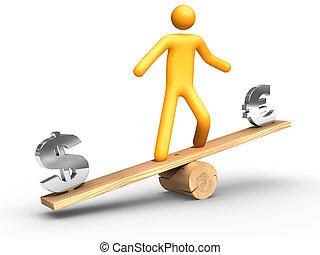 gleichgewicht, dollar, zwischen, euro
