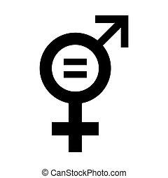 gleichheit, illustration., ikone, vektor, geschlecht