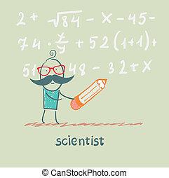 gleichung, wissenschaftler, schreibt, stift, besitz