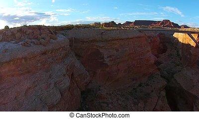 Glen Canyon at Sunset Aerial - Beautiful Glen Canyon Basin...
