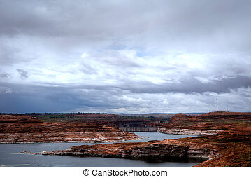 Glen Canyon Dam at Lake Powell Arizona