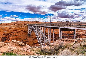 Glen Canyon Dam Bridge above the Colorado River in Arizona, the USA