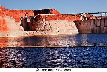 Glen Canyon Dam Lake Powell Canyon Walls Arizona