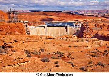 Glen Canyon Dam Bridge Lake Powell Arizona. Orange Canyon and Electric Power Lines.