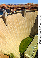 Glen Canyon Dam on the Colorado River in northern Arizona, near the town of Page.