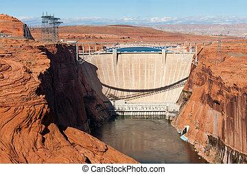 Glen Canyon Dam over Colorado near Page, Arizona