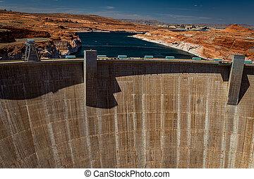 Page, Arizona, USA - June 12, 2020: The Glen Canyon Dam and the southern end of Lake Powell at Page, Arizona