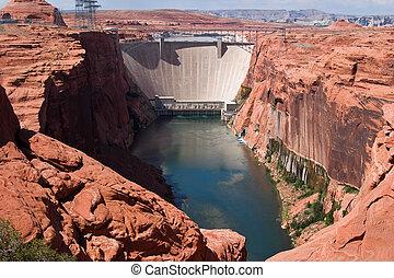 Glen Canyon Dam - Colorado River and Glen Canyon Dam and...