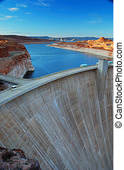 Glen Canyon Dam panorama with Colorado River in Lake Powell...