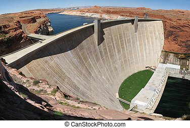 Wide angle photo of Glen Canyon dam on the Colorado River
