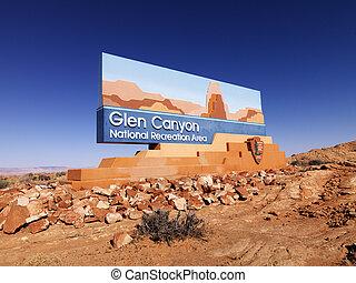 Landscape of Glen Canyon National Recreation entrance sign in Arizona, United States.