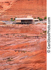 Glen canyon dam Visitor center on a red rock hill