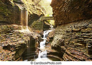 glen, caverna, parque, estado, cachoeira, watkins