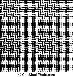 Glen check black and white checkered seamless pattern