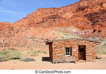 glen, pedra, área, lee's, nacional, recreação, desfiladeiro, balsa, cabana